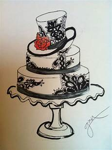 black and white wedding cake sketch black and white