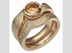 Mokume Engagement Swirl Champagne Bridal Set