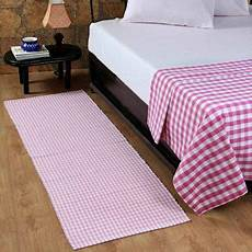 buy homescapes cotton gingham check rug woven pink