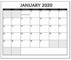 January Editable Calendar 2020 Editable January 2020 Calendar Calendar 2020