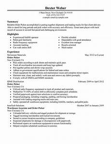 Order Of Experience On Resume Best Order Picker Resume Example Livecareer