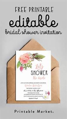 Free Editable Invitation Templates Free Editable Bridal Shower Invitation Watercolor Flowers