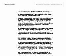 American Dream Essay Great Gatsby The Great Gatsby American Dream Essay Works Cited