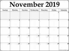 November Template Editable November 2019 Printable Calendar Word Pdf