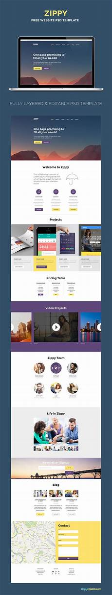 Single Page Website Templates Free One Page Website Template Psd Zippypixels