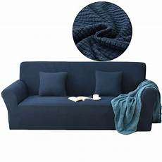 blue knitted solid color universal elastic sofa