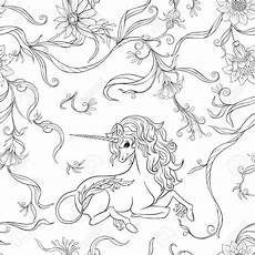 seamless pattern background with unicorn and vintage