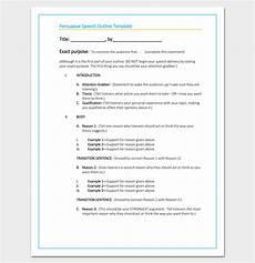 Persuasive Speech Outlines Persuasive Speech Outline Template 15 Examples Samples