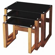 bamboo black glass with images glass nesting tables