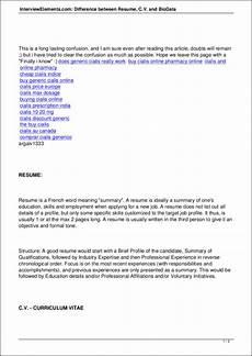 Resume And Biodata Difference Free Cv Vs Resume 7 Samples