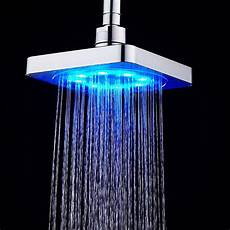 Shower Head With Lights Luxury Auto Color Changing Led Light Home Bathroom Square