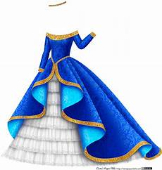 blue and gold princess gown with white tulle plus