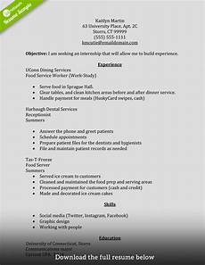 Sample Resume Format For Internship How To Write A Perfect Internship Resume Examples