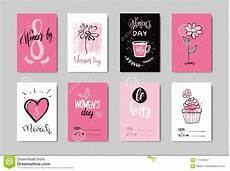 Collection Of Hand Drawn Greetings Words Woman Day Postcards Collection Creative Hand Drawn