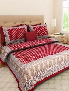 buy cotton jaipuri bed sheet with 2 pillow