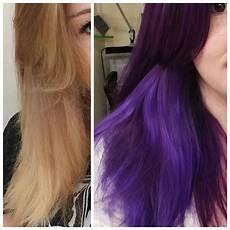 Arctic Fox Purple Rain On Light Brown Hair Before And After Artic Fox Purple Rain And Manic Panic