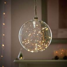 Fairy Lights In Glass Cylinder 20cm Plug In Indoor Hanging Glass Bauble With Led Firefly