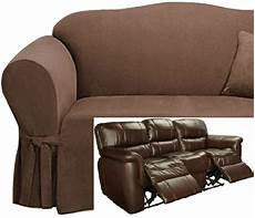 Cover Reclining Sofa 3d Image by Dual Reclining Sofa Slipcover Suede Chocolate Sure Fit