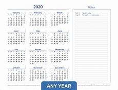 Vertex42 Calendar 2020 Yearly Calendar Template For 2020 And Beyond