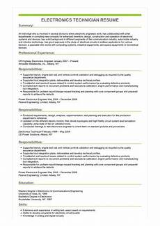 Electronic Technician Resumes Sample Electronics Technician Resume