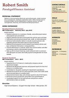 finance assistant resume samples qwikresume