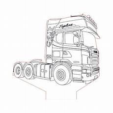 Ausmalbilder Lkw Daf Scania Truck 2 3d Illusion L Plan Vector File For Cnc