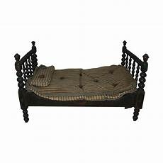antique stenciled folk wooden doll bed from