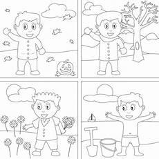 4 seasons coloring pages preschool printables
