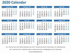 Free Printable Yearly Calendars 2020 2020 Yearly Calendar