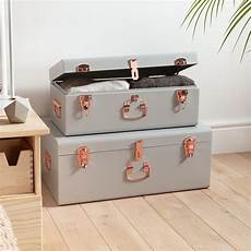 beautify storage trunks set of 2 grey gold suitcase