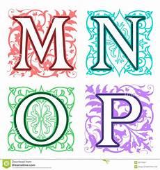 Letter Desings M N O P Alphabet Letters Floral Elements Stock Vector