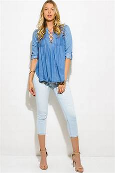 Light Blue Denim Top Shop Light Blue Denim Chambray Pleated Laceup Rolled