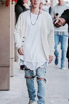 Justin Bieber Light Blue Jeans 2020 Famous Brand Designer Justin Bieber Jeans For Men