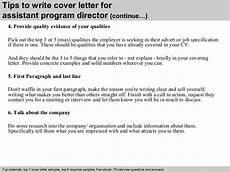 Cover Letter Sample For Program Assistant Assistant Program Director Cover Letter