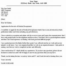 Receptionist Cover Letter With Experience Medical Receptionist Cover Letter Example Icover Org Uk