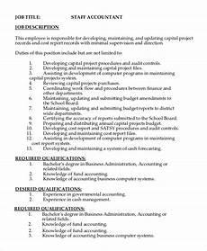 Job Description For Accounting Clerk Free 9 Sample Staff Accountant Job Descriptions In Pdf