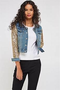 sleeve vest sequin sleeve denim jacket just 163 5