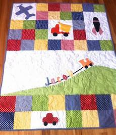 patchwork bebe personalised baby boy quilt with truck plane by