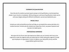 Medical Assistant Summary Medical Assistant Resume Template Pdf