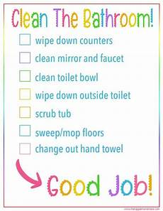 Bathroom Cleaning Checklist Template Kid S Bathroom Cleaning Checklist Free Printable