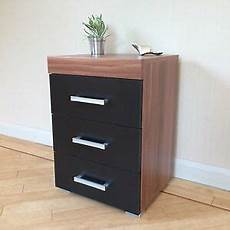 3 drawer black walnut bedside cabinet table 3 draw