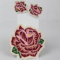 beadwork rose eastern shoshone pattern barrette and earrings