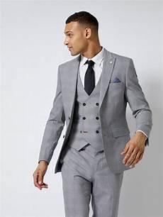 Light Grey 3 Piece Suit Grey Highlight Check Slim Fit Suit Jacket Burton