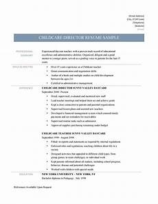 Resume For Child Care Director Childcare Director Resume Samples Tips And Template