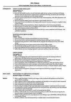 Crew Chief Resume Crew Leader Resume Samples Velvet Jobs