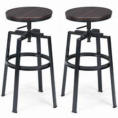 Classic Stool Design Set Of 2 Vintage Bar Stool Adjustable Wood Metal Design