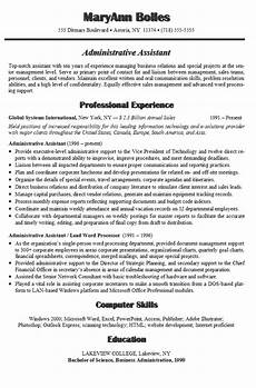 Administrative Assistant Resume Samples Administrative Assistant Resume Example Sample