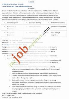 Resume Human Resources Manager Sample Human Resources Manager Resume Template