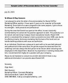 Coworker Letter Of Recommendation Free 6 Sample Recommendation Letter For Coworkers In Pdf