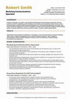Marketing Specialist Resume Sample Marketing Communications Specialist Resume Samples